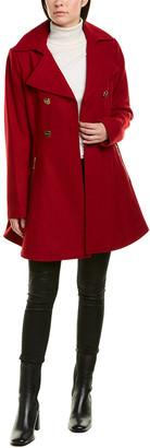 Laundry by Shelli Segal Melton Fit & Flare Wool-Blend Coat