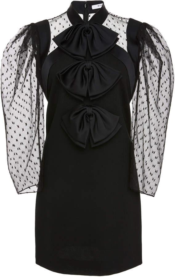 Givenchy Bow-Embellished Tulle-Paneled Wool-Crepe Mini Dress