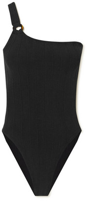 Hunza G Nancy One-shoulder Ribbed Seersucker Swimsuit - Black