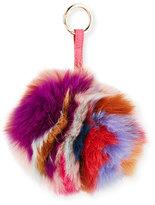 Jocelyn Super Swirl Fox Fur Pompom Charm, Multicolor