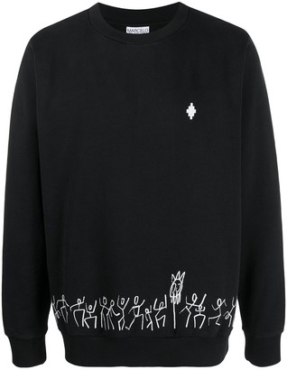 Marcelo Burlon County of Milan Tribe Regular Crewneck Black White