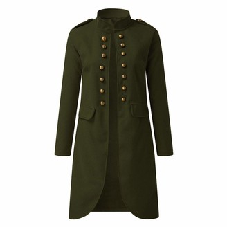 Amhomely Women Coat and Jacket Promotion Sale Women Autumn Solid Fashion Button Long Sleeve Cardigan Top Double-Breasted Coat Winter Warm Overcoat Long Hooded Jacket Parka Outwear UK Size Army Green