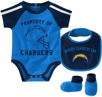 Outerstuff Newborn & Infant Powder Blue/Navy Los Angeles Chargers Tackle Bodysuit, Bib & Booties Set