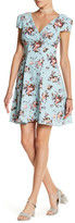 Betsey Johnson V-Neck Floral Chiffon Fit & Flare Dress
