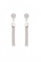Quiz Silver Diamante Circle Tassel Earrings