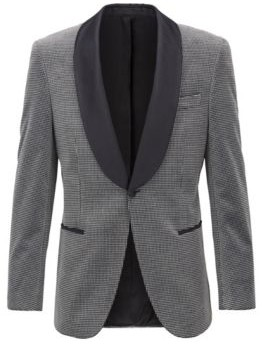 Slim-fit jacket in checked cotton with silk trims