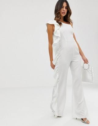 UNIQUE21 one shoulder jumpsuit-White