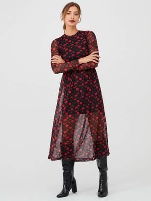 Very Floral Mesh Midaxi Dress - Black