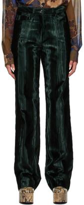 Dries Van Noten Green Velvet Trousers