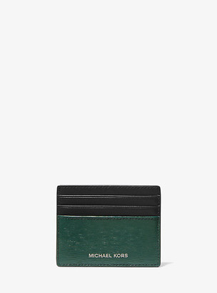Michael Kors Hudson Two-Tone Crossgrain Leather Tall Card Case