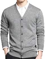 IVANNIE Men's Basic Long Sleeve Button Down V Neck Knitted Cardigan Tag XL - US M