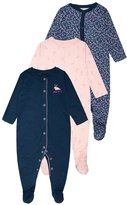 Mothercare GIRLS FLORAL BUNNY SLEEPSUIT BABY 3 PACK Pyjamas navy
