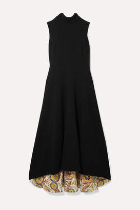 Oscar de la Renta Ornament Silk-trimmed Wool-blend Midi Dress - Black
