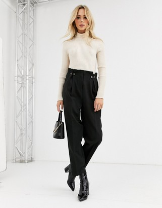 New Look button detail pleated pants in black
