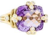 Judith Ripka 18K Amethyst & Diamond Cocktail Ring