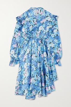 Balenciaga Asymmetric Ruffled Floral-print Silk-satin Dress - Blue