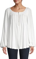 Free People Balloon-Sleeve Half-Button Top