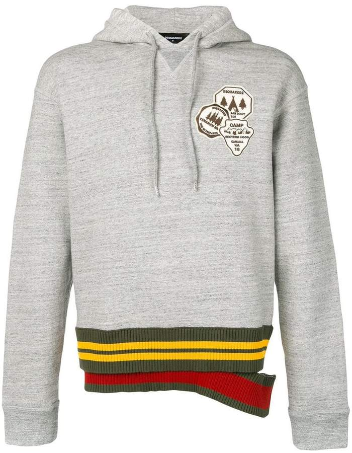 DSQUARED2 patch hoodie with double waistband