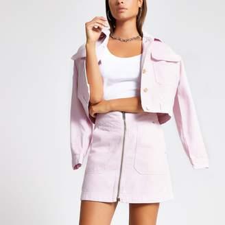 River Island Womens Light Pink zip front mini denim skirt