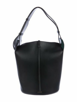 Burberry Large Leather Bucket Bag Black