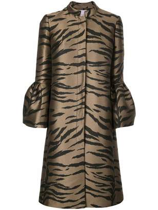 Carolina Herrera Bell Sleeve Cape Tiger Print A Line Coat