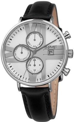 August Steiner Men's Swiss Quartz Multifunction Dual-Time Leather Black Strap Watch