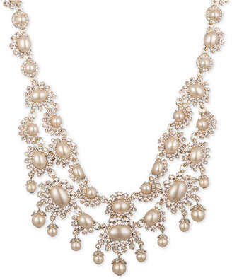 """Marchesa Gold-Tone Pave & Imitation Pearl 16-1/4"""" Statement Necklace"""