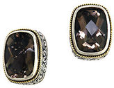 Effy Smoky Quartz, Sterling Silver and 18K Yellow Gold Stud Earrings