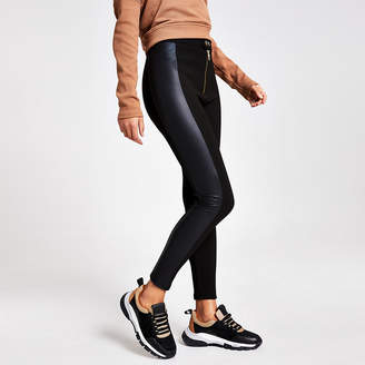 River Island Black faux leather ribbed blocked leggings