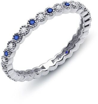 Lafonn Platinum Bonded Sterling Silver Simulated Diamond & Sapphire Ring