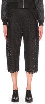 Sacai Wide mid-rise embroidered-lace culottes