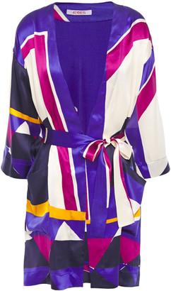 Eres Artwork Museum Printed Silk-satin Kimono