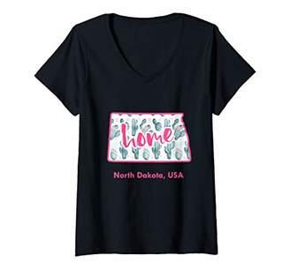 Dakota Womens North Cactus Map Home Cacti Travel Souvenir Gift V-Neck T-Shirt