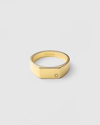 Miansai Geo Signet Ring with Diamond