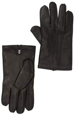 Hickey Freeman Leather & Cashmere Lined Gloves