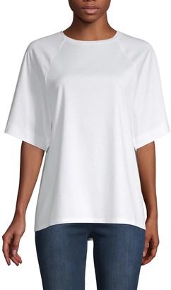 Tibi Mercerized Knit Sheer-Back T-Shirt
