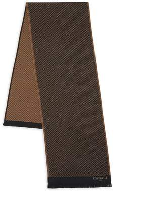 Canali Dot-Print Wool Scarf
