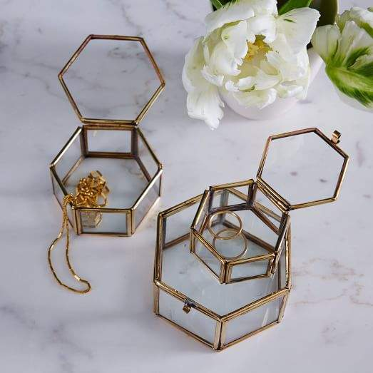 Nesting Glass Shadow Boxes – Hexagon (Set of 3)