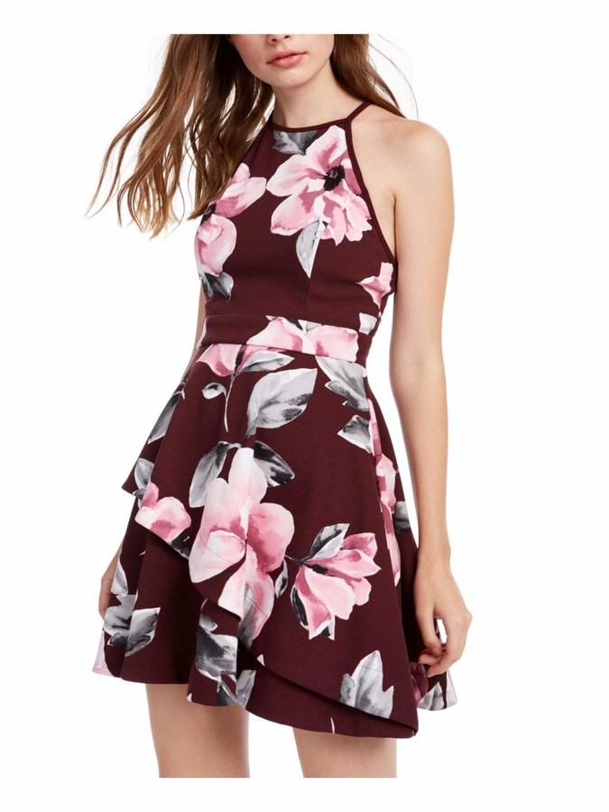 Speechless Womens Burgundy Zippered Tiered Sleeveless Halter Short A-Line Party Dress Juniors US Size: 0