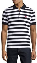 Burberry Striped Polo Shirt, White/Navy