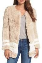 Love Token Beige White Stripe Faux Fur Jacket/Cardigan