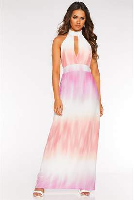 Quiz Sam Faiers Pink and Peach Tie Dye Halter Neck Maxi Dress