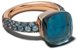 Pomellato 18kt rose and white gold Nudo topaz and turquoise ring