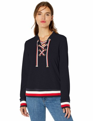 Tommy Hilfiger Women's Lace Up Top with Global Hem