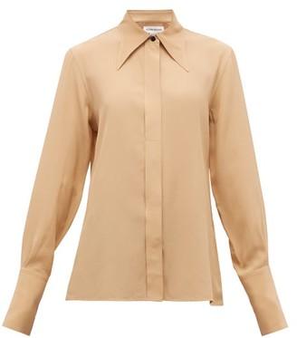 Victoria Beckham Point-collar Silk-crepe De Chine Shirt - Camel