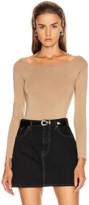 Enza Costa Italian Viscose Long Sleeve Off Shoulder Bodysuit in Tan   FWRD
