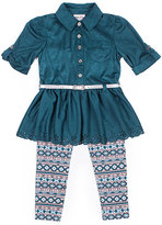Little Lass Teal Eyelet Button-Front Tunic & Geo Leggings - Infant