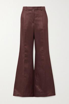 Joseph Tana Chintz Linen-blend Satin Wide-leg Pants - Burgundy