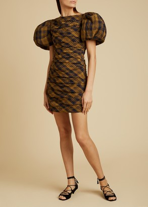 KHAITE The Shelly Dress in Brown Check