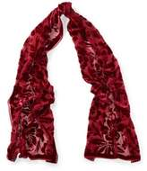 Ralph Lauren Floral Burnout Velvet Scarf Red One Size